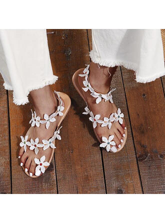 Women's PU Flat Heel Sandals Pumps Closed Toe Square Toe Heels With Beading Flower shoes
