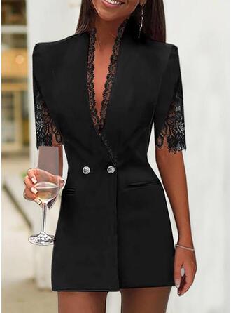 Solid Lace 1/2 Sleeves Sheath Above Knee Little Black/Elegant Dresses