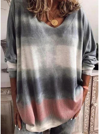 Tie Dye V-Neck Long Sleeves T-shirts