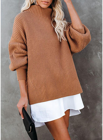 Color Block Turtleneck Casual Long Sweater Dress