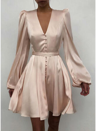 Solid Long Sleeves/Puff Sleeves A-line Above Knee Party/Elegant Skater Dresses