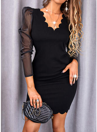 Solid Lace Long Sleeves Puff Sleeve Bodycon Above Knee Little Black/Elegant Dresses