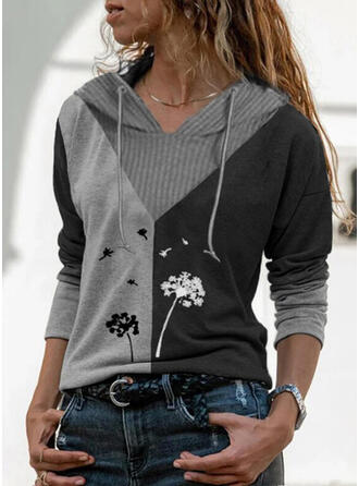 Print Color Block Dandelion Long Sleeves Hoodie