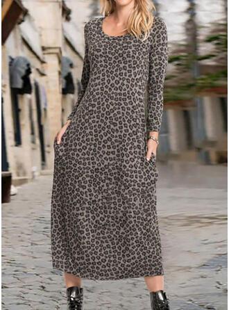 Leopard Långa ärmar Rak Tunika Fritids Midi Klänningar