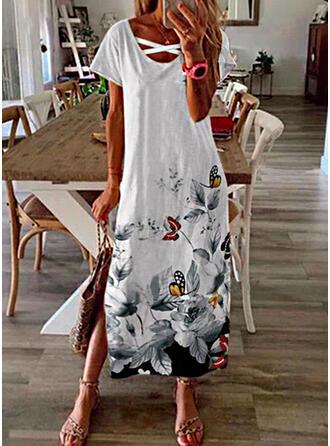 Print/Floral/Animal Short Sleeves Shift Casual Maxi Dresses