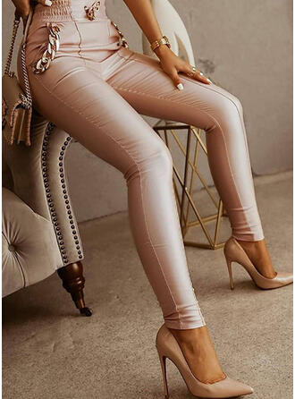 Solid PU Long Elegant Office/Business Pocket Chains Pants