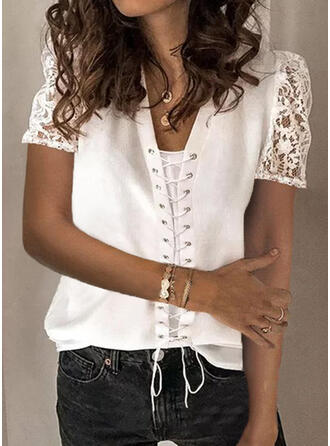 Solid Lace Lace-up V-Neck Puff Sleeves Short Sleeves Casual Blouses