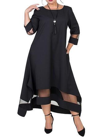Solid 3/4 Sleeves Shift Little Black/Elegant Midi Dresses