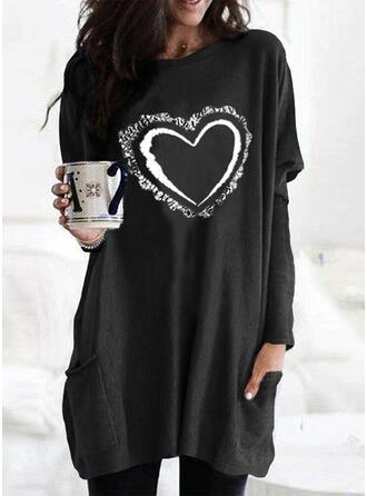 Print Sequins Heart Round Neck Long Sleeves Sweatshirt