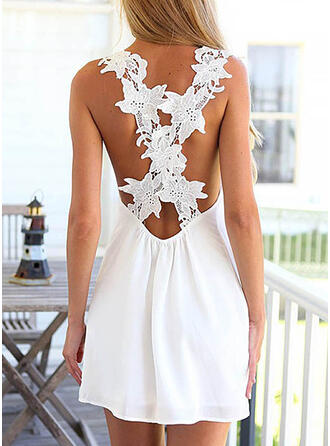 Solid/Backless Sleeveless Shift Above Knee Sexy/Casual/Vacation Dresses