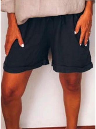 fickor Shirred Extra stor storlek Ovanför knäet Boho Fritids Shorts