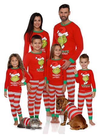 Brev Rand Tecknad Matchande familj Jul Pyjamas