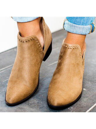 Women's Suede Chunky Heel Ankle Boots Low Top Pointed Toe With Solid Color shoes