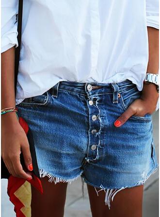 Shirred Plus Size Tassel Sexy Vintage Shorts Denim & Jeans