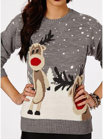 Kvinnor polyester Ren Ugly Christmas Sweater