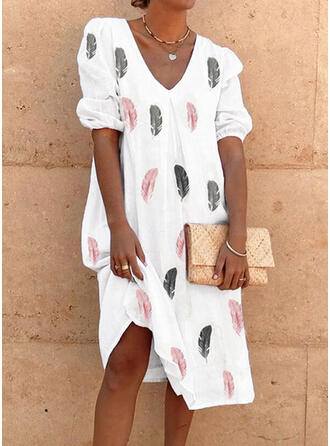 Print 3/4 Sleeves/Puff Sleeves Shift Knee Length Casual Tunic Dresses
