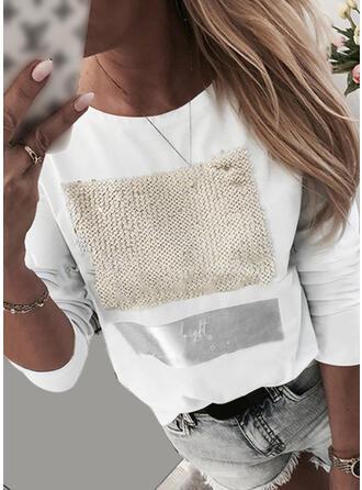Print Paljetter Round Neck Långa ärmar Fritids T-shirts