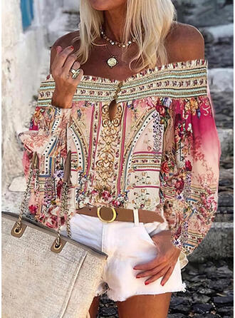 Print Floral Off the Shoulder Long Sleeves Lantern Sleeve Casual Blouses