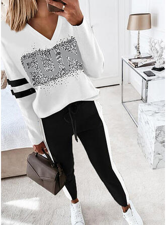 Letter Striped Print Casual Plus Size Blouse & Two-Piece Outfits Set