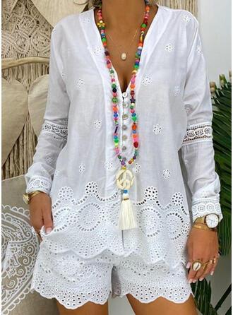 Solid Jacquard Plus Size Boho Casual Suits