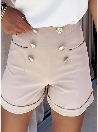 Solid Chiffon Above Knee Casual Shirred Pants Shorts