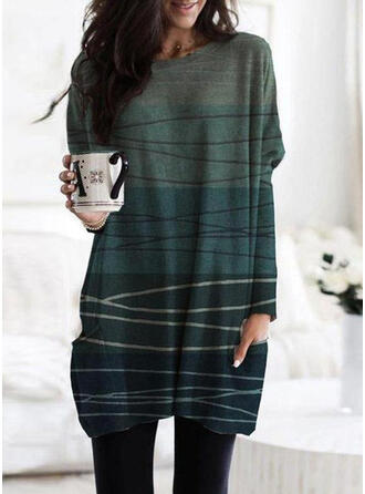 Print Pockets Round Neck Long Sleeves Sweatshirt
