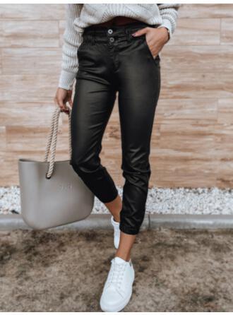 Solid PU Long Casual Plus Size Pocket Button Pants