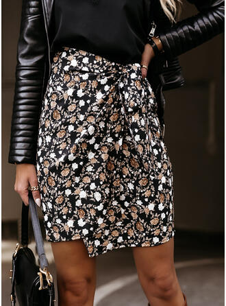 Cotton Blends Print Above Knee Pencil Skirts