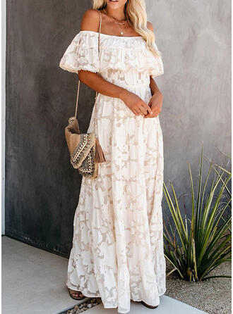 Lace/Solid 1/2 Sleeves A-line Skater Casual/Vacation Maxi Dresses