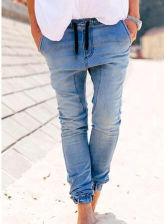Solid Denim Long Casual Plus Size Pocket Drawstring Denim & Jeans