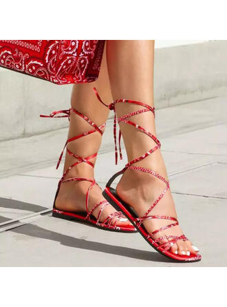 Women's Cloth Flat Heel Sandals Flats Peep Toe With Lace-up Solid Color shoes