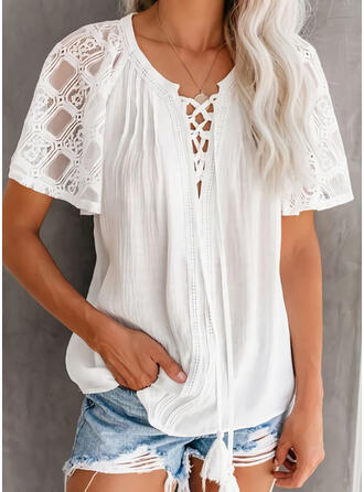Solid Lace Tassel Lace-up Round Neck Short Sleeves Casual Blouses