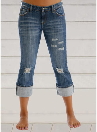 Shirred Plus Size Ripped Casual Vintage Denim & Jeans