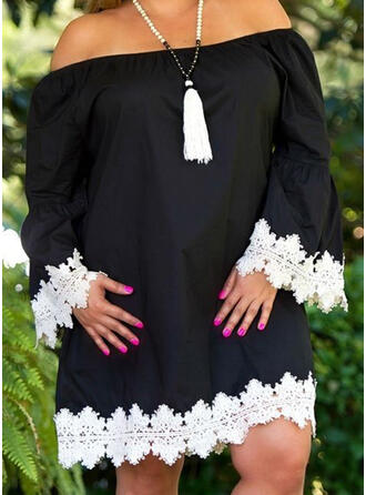 Plus Size Lace Flare Sleeve Long Sleeves Shift Above Knee Casual Elegant Dress