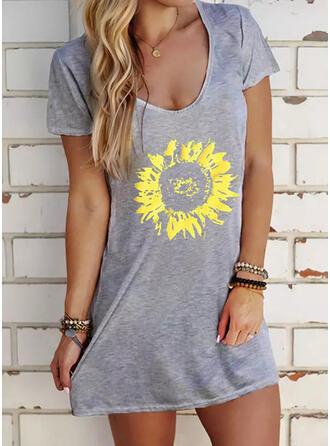 Sunflower Print Short Sleeves Shift Above Knee Casual T-shirt Dresses