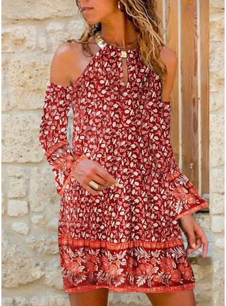 Print/Floral Long Sleeves Shift Knee Length Vacation Tunic Dresses