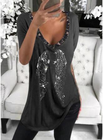 Print Sequins V-Neck Short Sleeves T-shirts