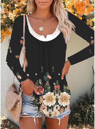 Floral Print U-Neck Long Sleeves T-shirts