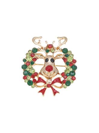 Vackra Och Färgglada Jul Legering Strass med Strass Kvinnor Mode Broscher 1 st