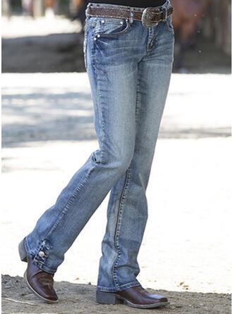 Solid Cotton Long Casual Vintage Plus Size Pocket Shirred Button Pants Denim & Jeans