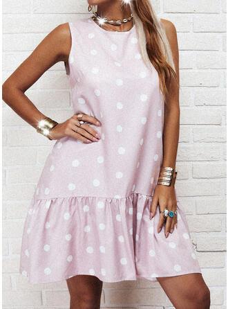 PolkaDot Sleeveless Shift Above Knee Casual Dresses