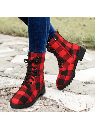 Women's PU Chunky Heel Mid-Calf Boots Martin Boots Round Toe With Zipper Splice Color shoes