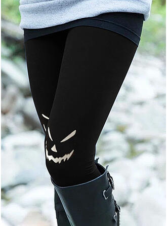 Halloween Print Cartoon Long Casual Plus Size Leggings