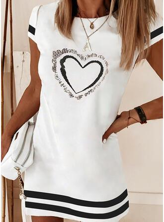 Print/Sequins/Striped/Heart Short Sleeves Shift Above Knee Elegant Dresses