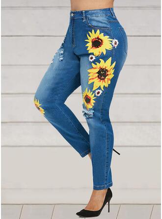 Blommig Extra stor storlek Rev Boho Sexig Denim & Jeans