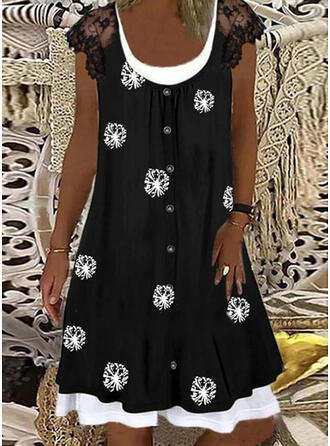 Lace/Print Short Sleeves Shift Knee Length Casual Tunic Dresses