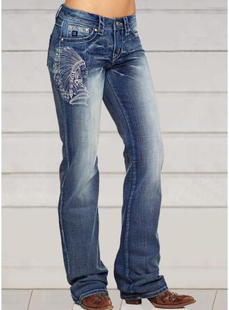 Broderi Extra stor storlek Elegant Mager Vinobranie Denim & Jeans