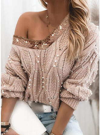 Solid Cable-knit Sequins Beaded V-Neck Casual Sweaters