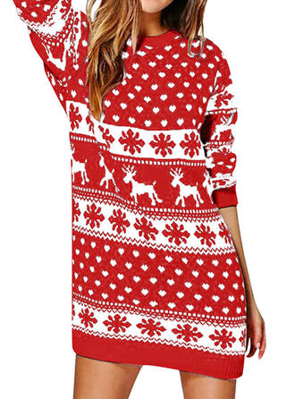 Animal Print Long Sleeves Shift Above Knee Christmas/Casual Sweater Dresses