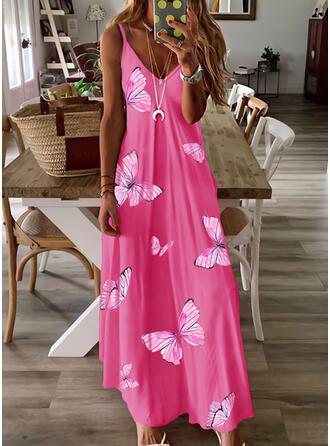 Print/Animal Sleeveless A-line Slip/Skater Casual/Vacation Maxi Dresses